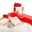 Christmas gift boxes on snow — Stock Photo #7692591
