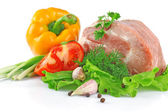 Piece of fresh raw meat with vegetables — Stock Photo