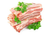 Fresh raw meat with greens — Stock Photo
