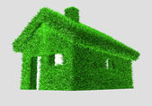 3D illustration of a green house with grass — Stock Photo