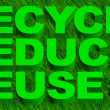 Recycle reuse and reduce word over green grass — Stock Photo #6910191