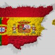 Spain and portugal map mounted over blocks — Stock Photo
