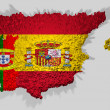 Spain and portugal map mounted over blocks — Stock Photo #6939718