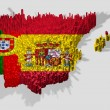 Spain and portugal map mounted over blocks — Stock Photo #6968020
