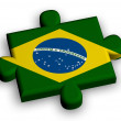 Color puzzle piece with flag of brazil — Stock Photo
