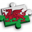 Color puzzle piece with flag of wales — Stock Photo
