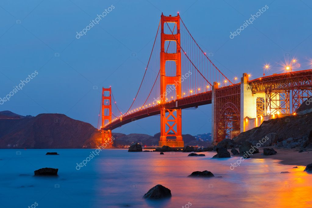 Golden Gate bridge at night  Stock Photo #6891347