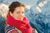 Attractive girl in winter Alps — Stock Photo
