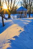 冬公園の夕日 — ストック写真