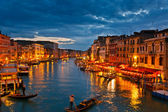 Gran canal en la noche, venecia — Foto de Stock