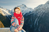 Attractive girl in winter Alps — Stock Photo