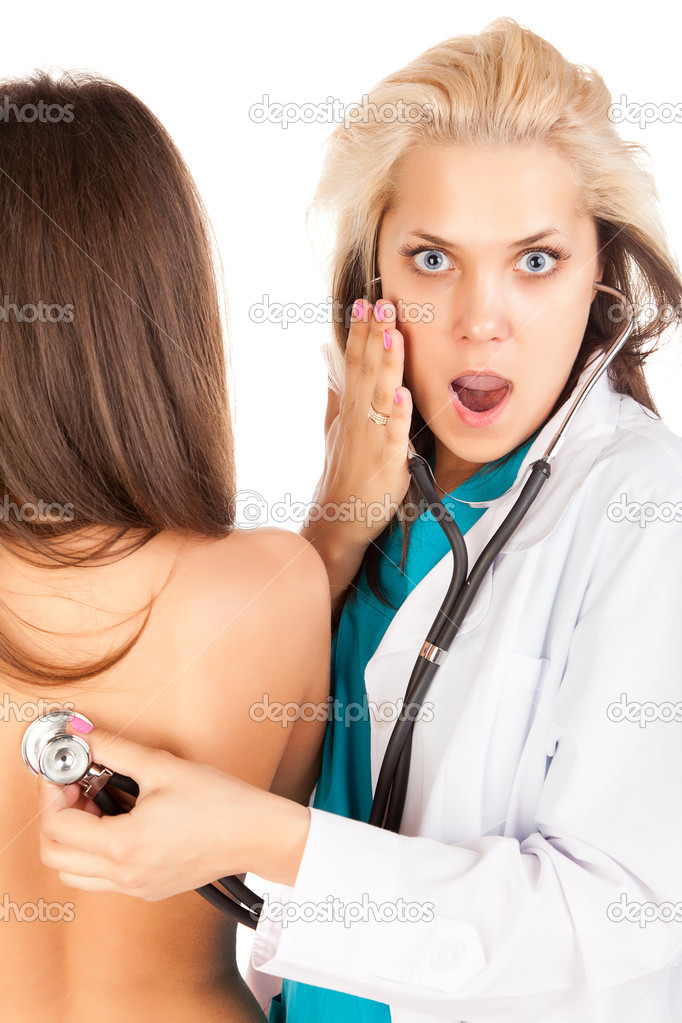 Surprised female doctor with patient  Stock Photo #7635147