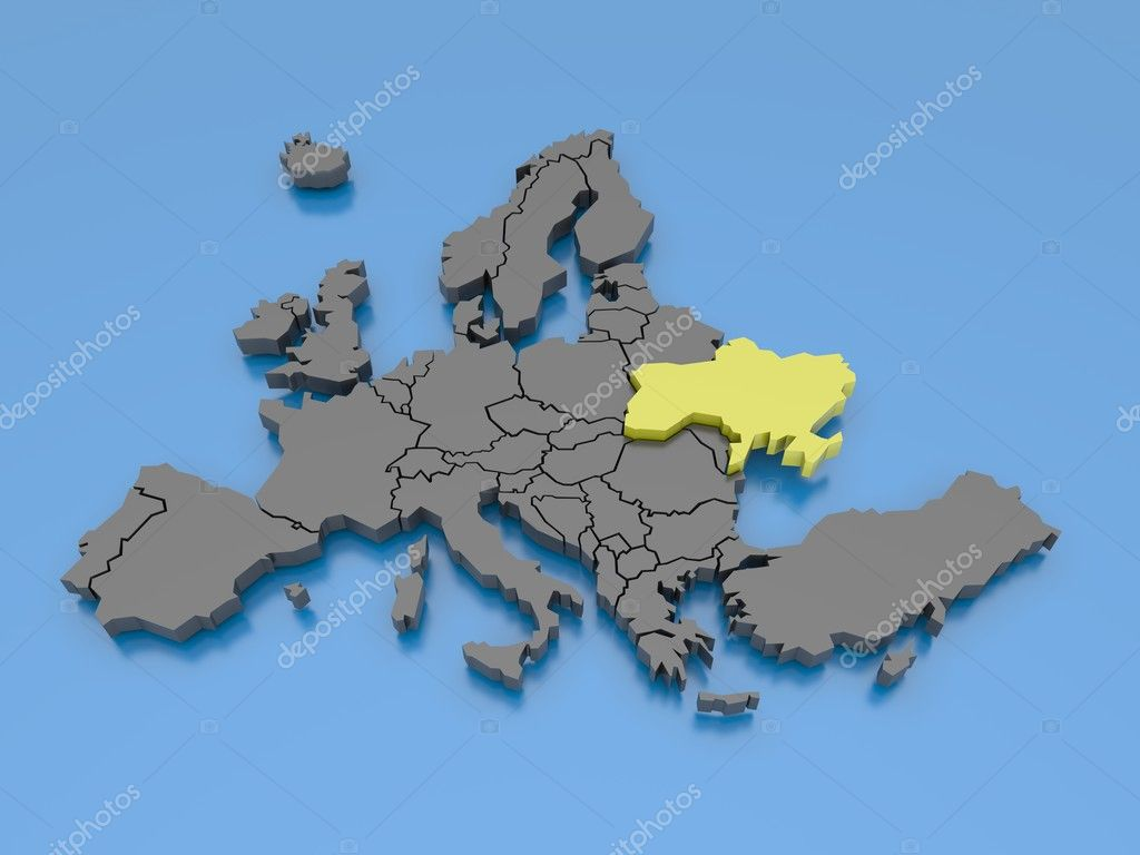 3d rendering of a map of Europe  Stock Photo #6903995
