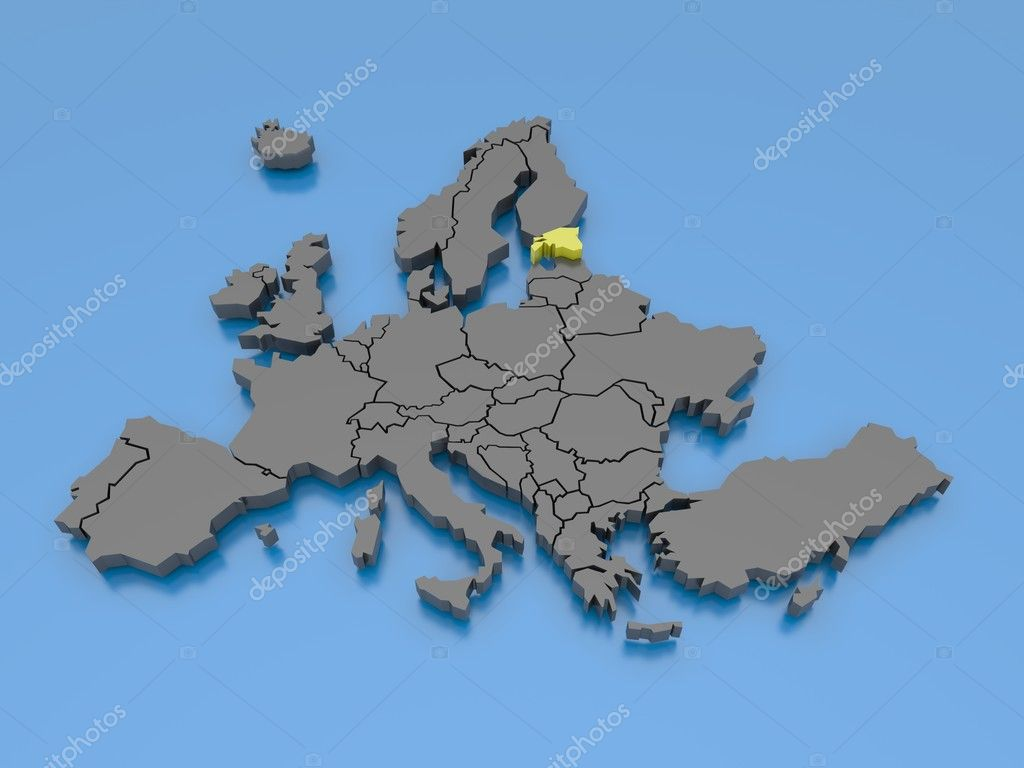 3d rendering of a map of Europe — Stock Photo #6924213