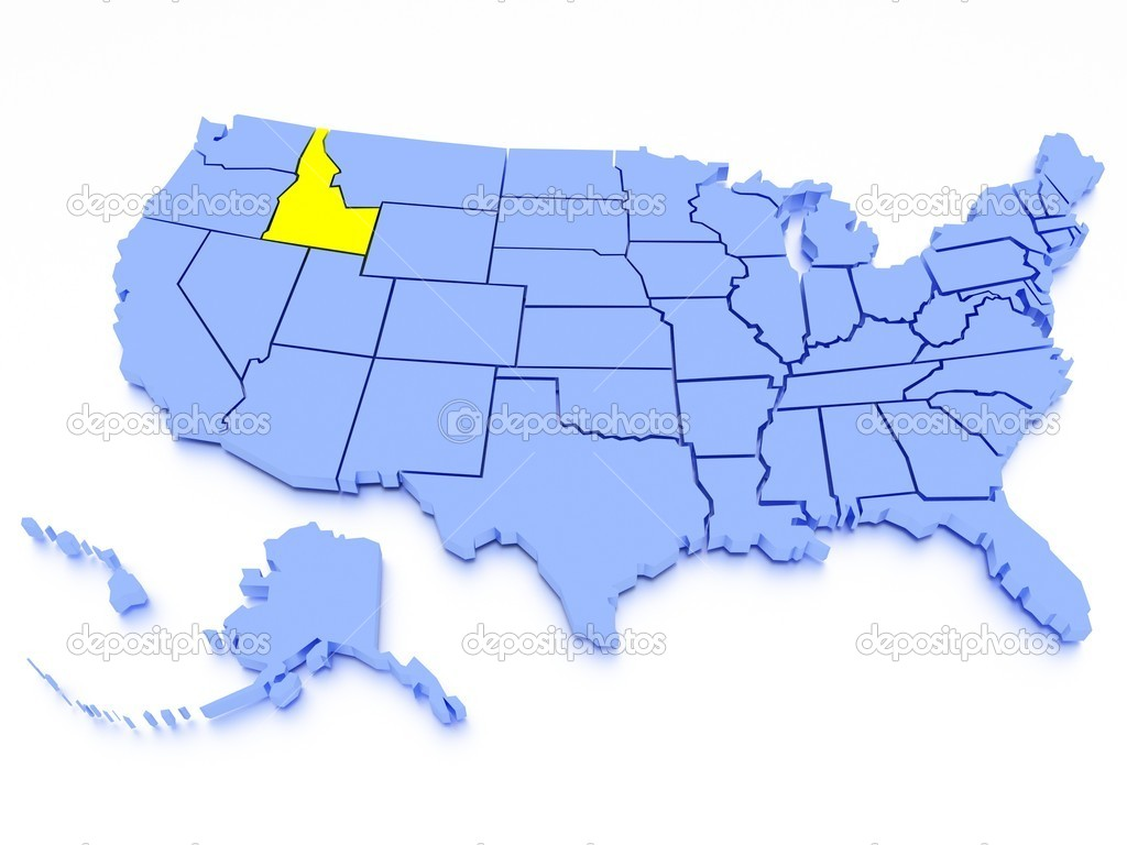 D Map Of United States State Idaho  Stock Photo  Kovacs - Map of united states download