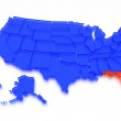 A 3D rendered map of USA - State Florida — Stock Photo
