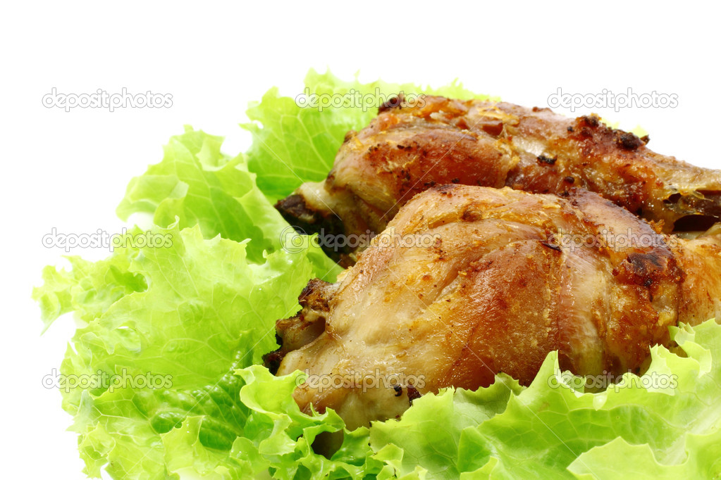 Fried chicken legs with salad on the plate — Stock Photo #6778490