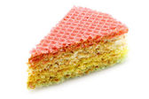 One piece of a waffle cake with condensed milk close-up — Stockfoto
