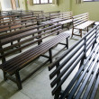 Wooden church seats — Stockfoto