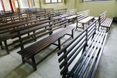 Wooden church seats — Stock Photo