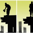 Construction workers put formwork — Stock Photo