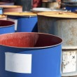 Old colored barrels for oil products — Foto de Stock