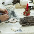 Stock Photo: Handmade manufacture of footwear
