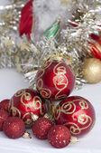 Christmas motifs with balls and chains — Stok fotoğraf