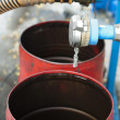 Truck Hoses for fuel station, pumps and oil barrels — Photo