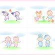 Children playing on the lawn — Stock Vector