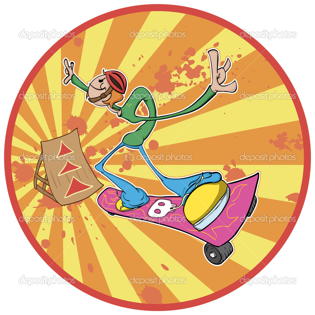 Skateboarder to prepare for the great jump on the trampoline. Vector file is divided into 2 layers (background, dude) for easy editing. Illustration without gra  Stock Vector #7143836