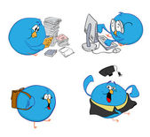 Four blue birds and learning — Stock Vector