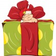 Little elf and a large box - Stock Vector