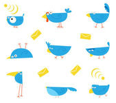 Nine different bluebirds. Without gradients. Vector illustration. — Stock Vector