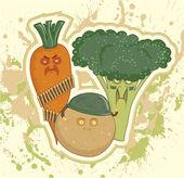 Military vegetables, potatoes, carrots, broccoli — Stock Vector