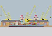 Container Ship — Stock Vector