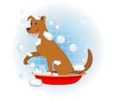 Funny dog wash in bathroom — Stock vektor