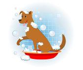 Funny dog wash in bathroom — Stock Vector