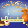 Hanukkah background with candles, donuts, oil pitcher and spinning top and — Stock Vector