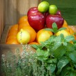 Organic fruit and herbs — Stock Photo
