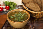 Kharcho. Georgian Beef-Walnut Soup. — Stock Photo
