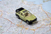 Concept small green pickup toy car on italy map — Stock Photo