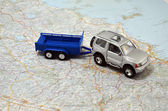 Concept small jeep with trailer toy car on italy map — Stock Photo