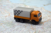 Concept small white toy car on italy map — Stock Photo