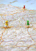 Red, green and yellow points on the italy map — Stock Photo