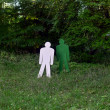 Stock Photo: Two targets standing in woods