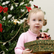 Little girl near the christmas tree holding a present — Stock Photo