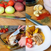 Preparation of baked chicken with potatoes, collage of 4 — Stock Photo