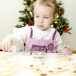 Little cute girl making Christmas cookies — Stock Photo #7797832
