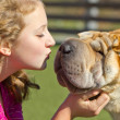 Teen girl kissing a dog — Stock Photo